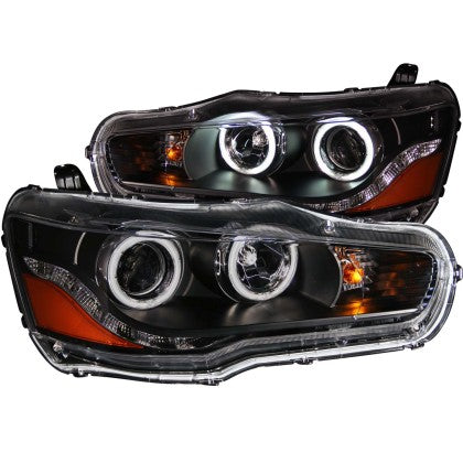 ANZO 2008-2015 Mitsubishi Lancer Projector Headlights w/ Halo Black (CCFL)