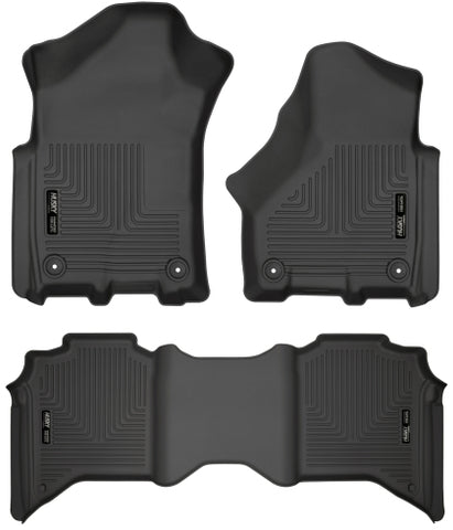 Husky Liners 19+ Dodge Ram 3500 Crew Cab Pickup WeatherBeater Black Front & 2nd Row Liners
