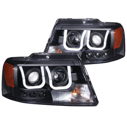 ANZO 2004-2008 Ford F-150 Projector Headlights w/ U-Bar Black