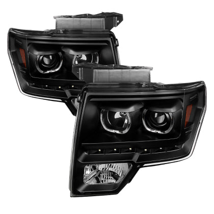 Xtune Ford F150 09-14 Projector Headlights Halogen Model Only LED Halo Black PRO-JH-FF15009-CFB-BK