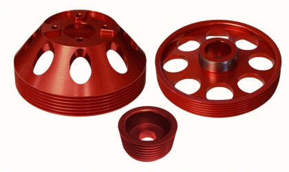 Torque Solution Lightweight WP/Crank/Alt Pulley Combo (Red): Hyundai Genesis Coupe 3.8 2010+