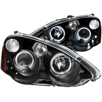 ANZO 2002-2004 Acura Rsx Projector Headlights w/ Halo Black
