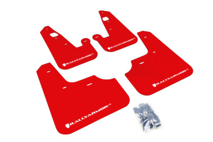 Rally Armor 2007+ Mitsubishi Lancer (doesn't fit Sportback) UR Red Mud Flap w/ White Logo