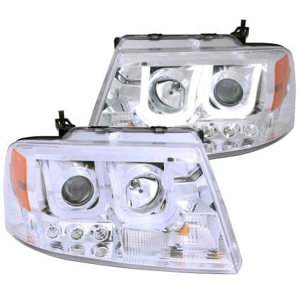 ANZO 2004-2008 Ford F-150 Projector Headlights w/ U-Bar Chrome