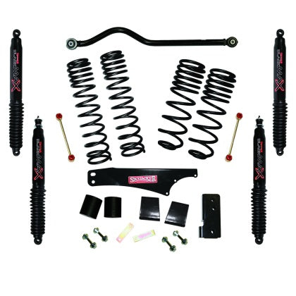 Skyjacker 2007-2018 Jeep Wrangler JK 4 Door 4WD Long Travel 3.5in-4in Lift Kit w/Black Max Shocks