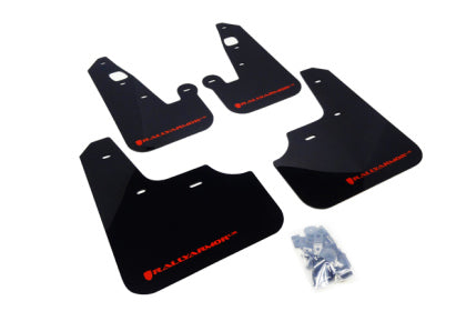 Rally Armor 2007+ Mitsubishi Lancer (doesn't fit Sportback) UR Black Mud Flap w/ Red Logo