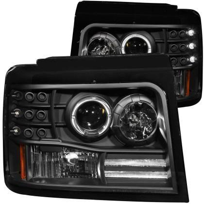 ANZO 1992-1996 Ford F-150 Projector Headlights w/ Halo Black w/ Side Markers and Parking Lights - GUMOTORSPORT