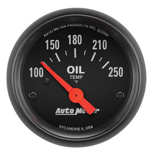 Autometer Z-Series 52mm 100-250 Degrees F. SSE Oil Temp Gauge