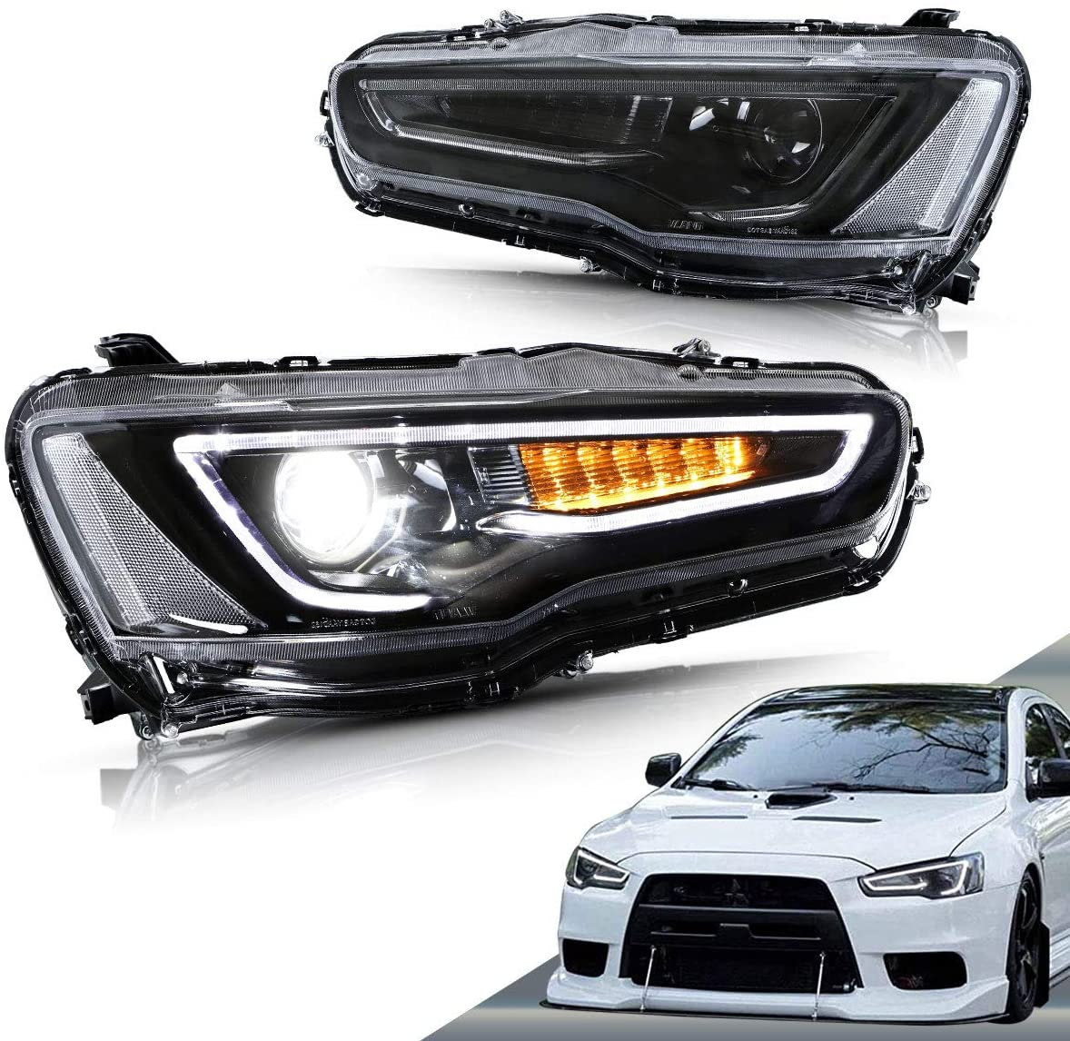 Vland black housing sequential Headlights for Evox/lancer - GUMOTORSPORT