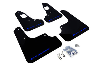 Rally Armor 2008+ Mitsubishi EVO X UR Black Mud Flap w/ Blue Logo