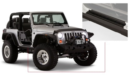 Bushwacker 07-18 Jeep Wrangler Trail Armor Rocker Panel and Sill Plate Cover - Black