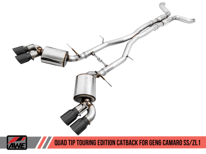 AWE Tuning 16-19 Chevy Camaro SS Non-Res Cat-Back Exhaust -Touring Edition (Quad Diamond Black Tips)