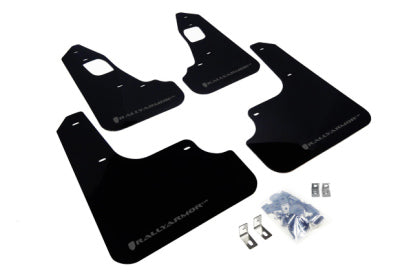 Rally Armor 2008+ Mitsubishi EVO X UR Black Mud Flap w/ Grey Logo