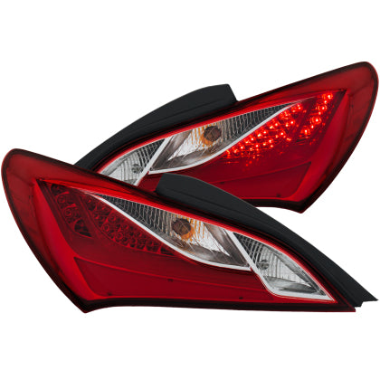 ANZO 2010-2013 Hyundai Genesis LED Taillights Red/Clear