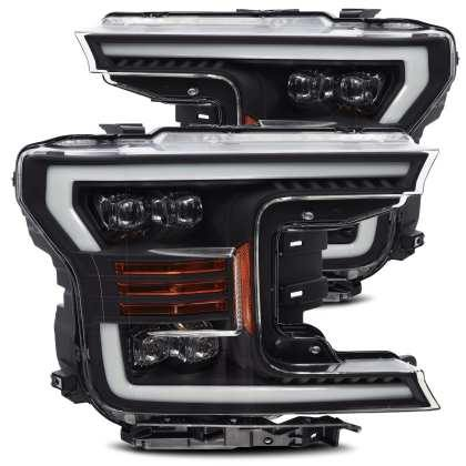 AlphaRex 18-19 Ford F-150 NOVA LED Proj Headlights Plank Style Matte Black w/Activ Light/Seq Signal - GUMOTORSPORT