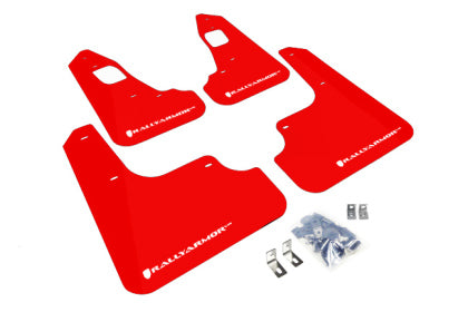 Rally Armor 2008+ Mitsubishi EVO X UR Red Mud Flap w/ White Logo