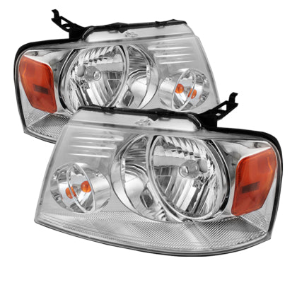 Xtune Ford F150 04-08 Amber Crystal Headlights Chrome HD-JH-FF15004-AM-C