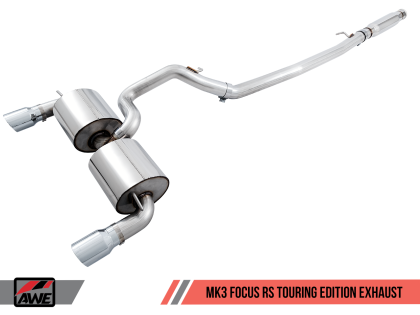 AWE Tuning Ford Focus RS Touring Edition Cat-back Exhaust - Resonated - Diamond Black Tips