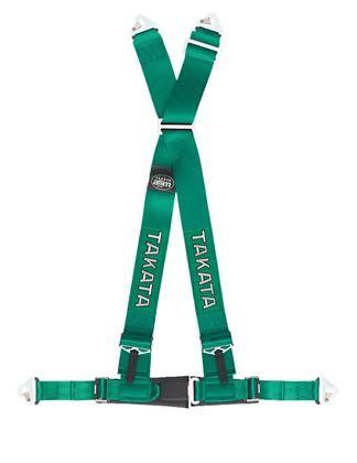 Takata Drift II 4-Point Harness Green Bolt-On - Universal