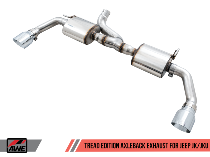 AWE Tuning 07-18 Jeep Wrangler JK/JKU 3.6L Tread Edition Axle-Back Dual Exhaust - Chrome Silver Tips