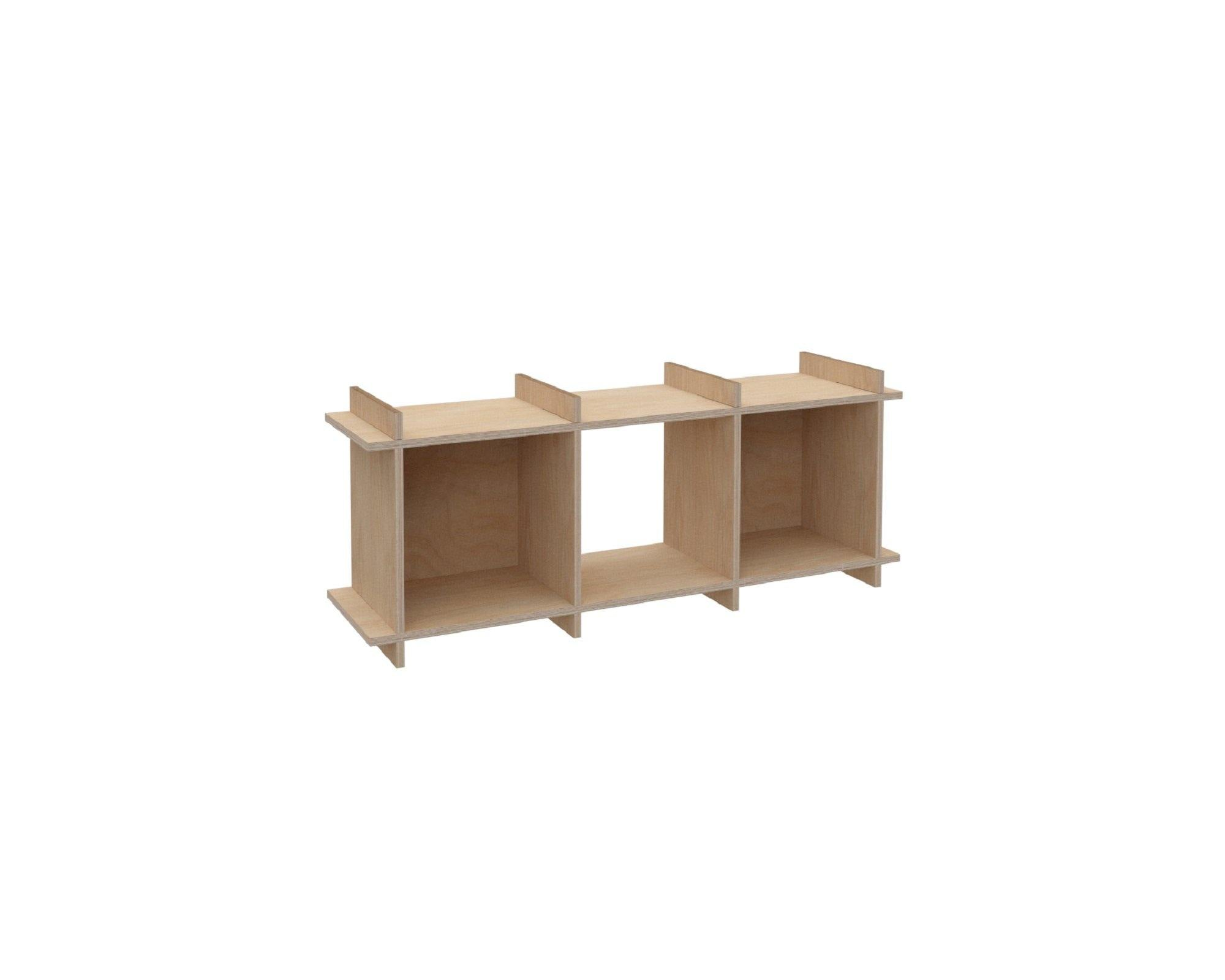 "Plywood Record Box Bookshelf	-	1x3	33cm / 13"" Box	-	46x115x33cm	/	18""x45""x13"" - skleia.com - handmade ergonomic ecologic plywood furniture"