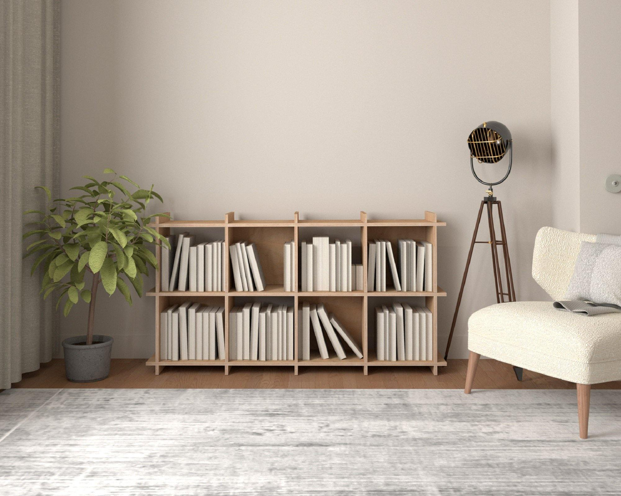 Custom Size Wooden Bookshelf - Plywood Bookcase,  4x2 (8 modules) - 149,5x80,5x33cm - skleia - custom size plywood furniture - handmade ergonomic ecologic plywood furniture