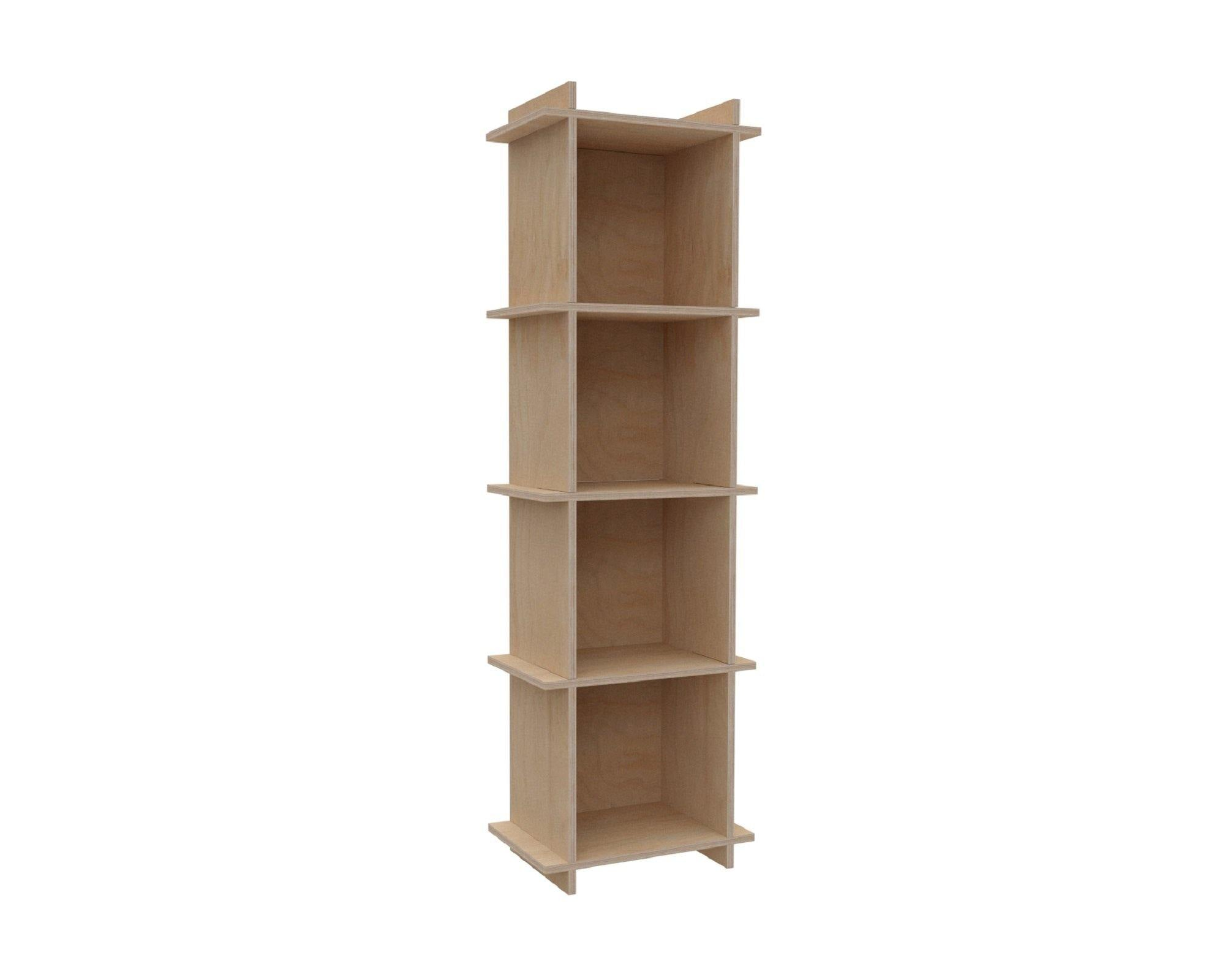 "Plywood Record Box Bookshelf	-	1x4	33cm / 13"" Box	-	46x149,5x33cm	/	18""x58.8""x13"" - skleia.com - handmade ergonomic ecologic plywood furniture"