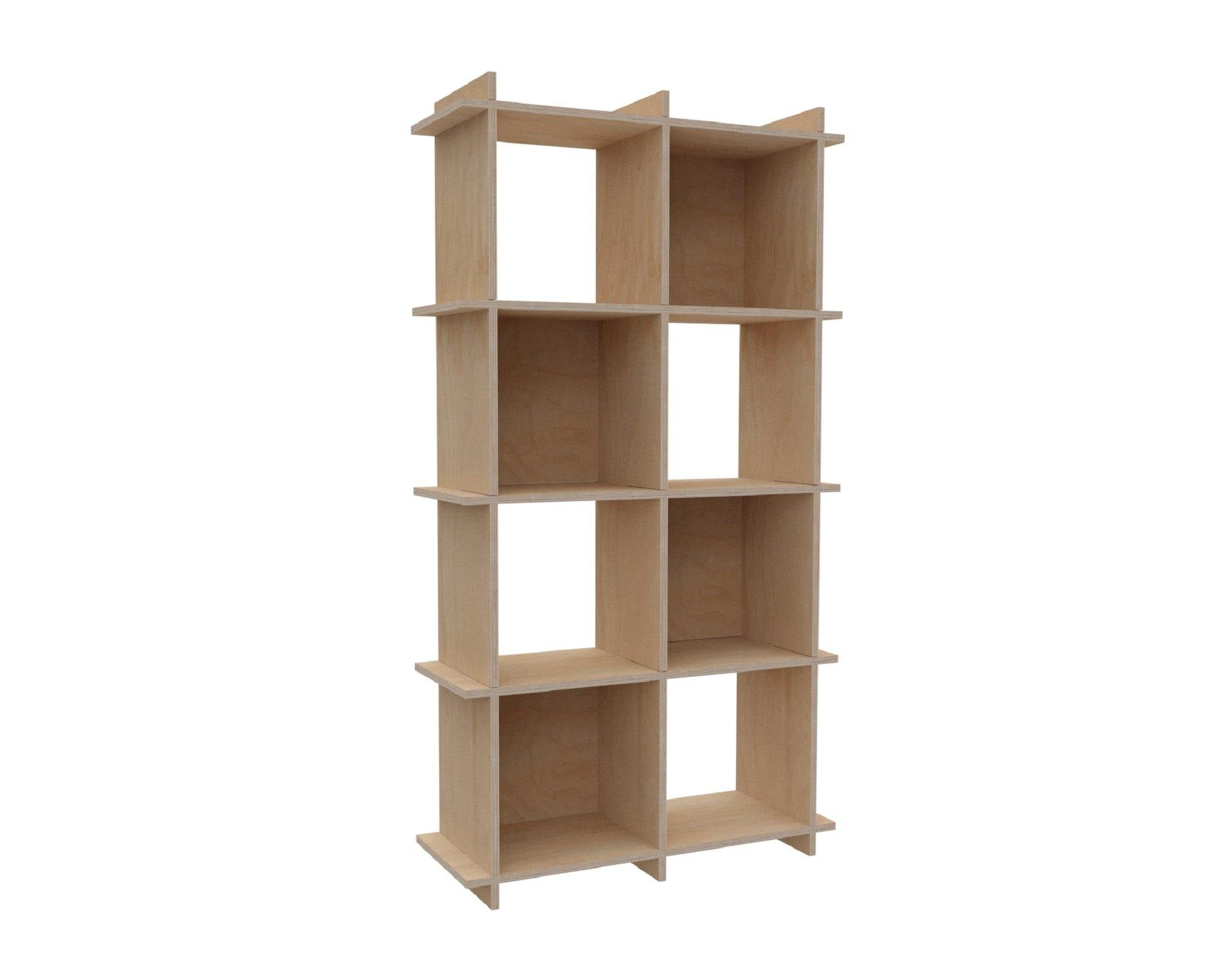 Custom Size Wooden Bookshelf - Plywood Bookcase,  2x4 (8 modules) - 80,5x149,5x33cm - skleia - custom size plywood furniture - handmade ergonomic ecologic plywood furniture
