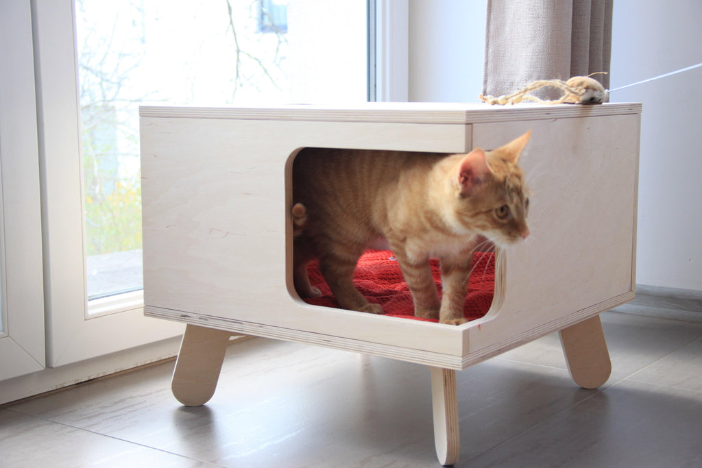 FurrrTable - Table with cat bed - skleia.com - handmade ergonomic ecologic plywood furniture