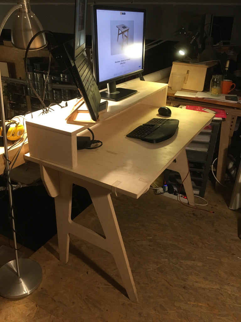 Home Office Set - Mono Desk + Rack Monitor Stand - skleia - custom size plywood furniture and accessories for musicians and home office - handmade ergonomic ecologic plywood furniture