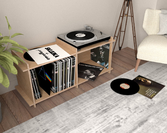 Custom Size Plywood Vinyl Shelf - 1x2 (2 modules) - 46x80,5x33cm - skleia - custom size plywood furniture and accessories for musicians and home office - handmade ergonomic ecologic plywood furniture