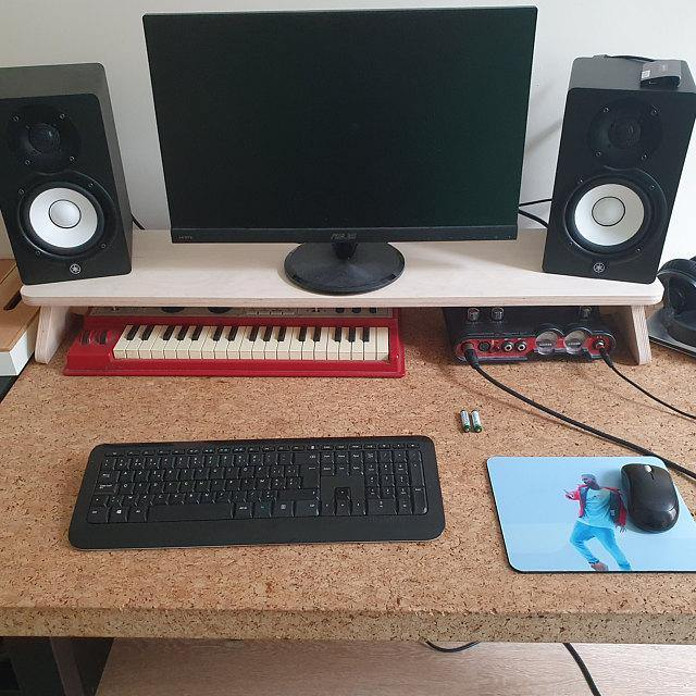 Custom Size Monitor Stand - skleia - custom size plywood furniture and accessories for musicians and home office - handmade ergonomic ecologic plywood furniture