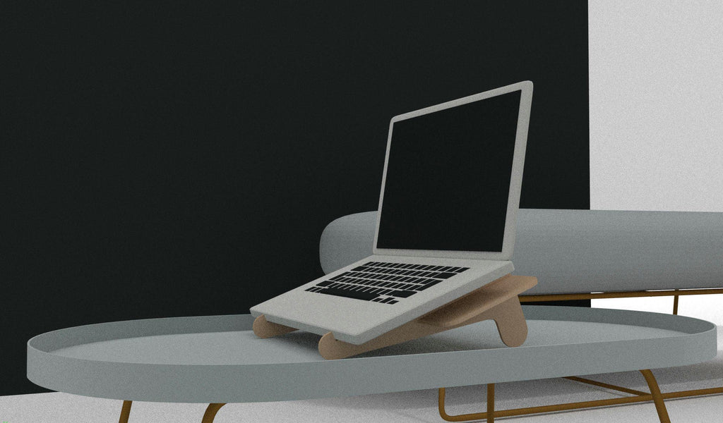 Portable Plywood Laptop Stand - skleia - custom size plywood furniture and accessories for musicians and home office - handmade ergonomic ecologic plywood furniture