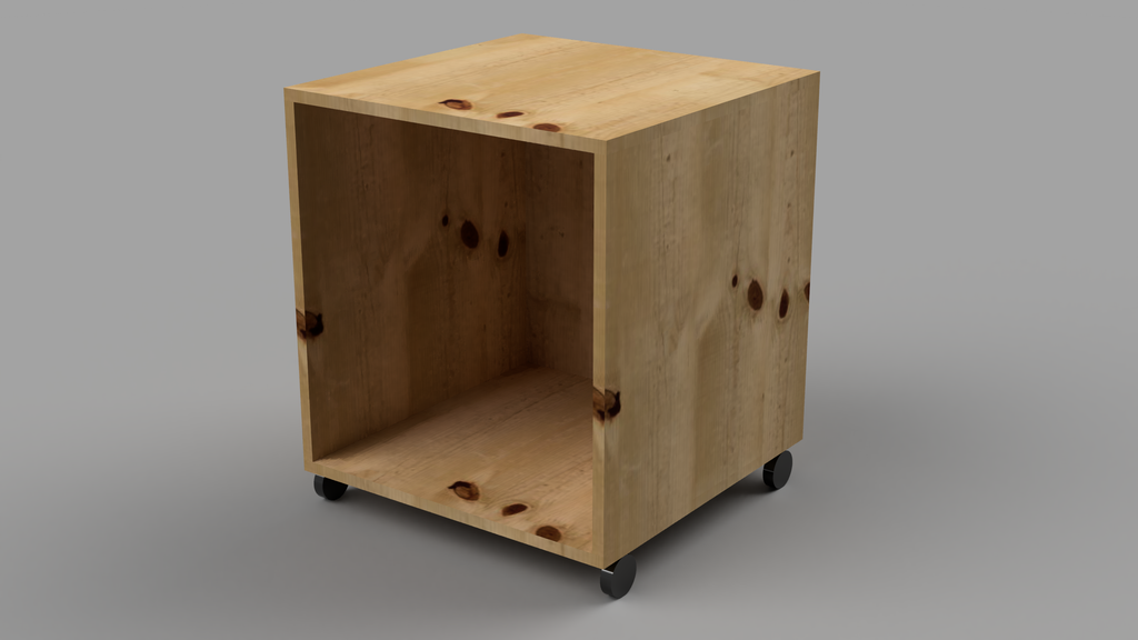 Bedside Table With Wheels and Back - skleia.com - handmade ergonomic ecologic plywood furniture