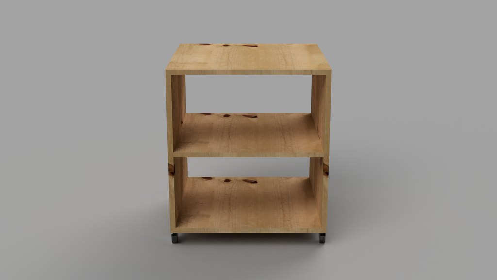 Bedside Table With Wheels and Shelf - skleia.com - handmade ergonomic ecologic plywood furniture