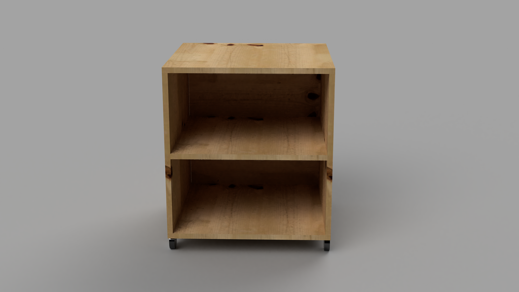 Bedside Table With Wheels, Shelf and Back - skleia.com - handmade ergonomic ecologic plywood furniture