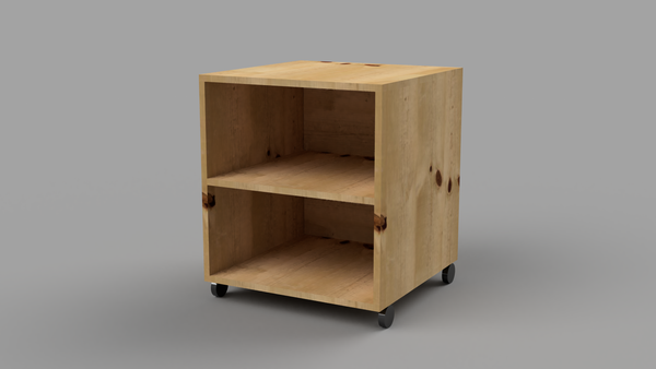 Bedside Table With Wheels, Shelf and Back - skleia.com