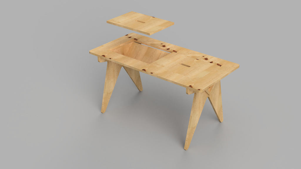 Montessori Table with Storage 120x60cm - skleia.com - handmade ergonomic ecologic plywood furniture