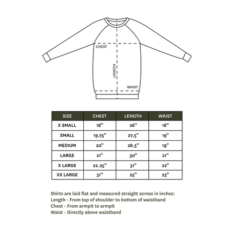 Adult Crew Neck Size Chart