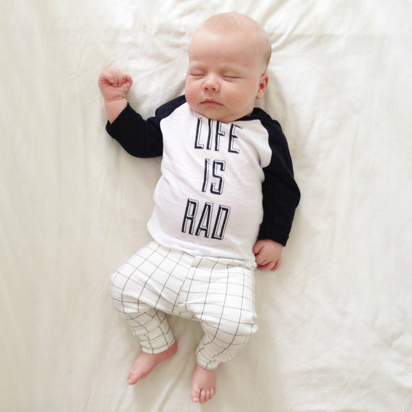 Babies Life is Rad Baseball Tee (WHITE + BLACK) - Locomotive Clothing - 1