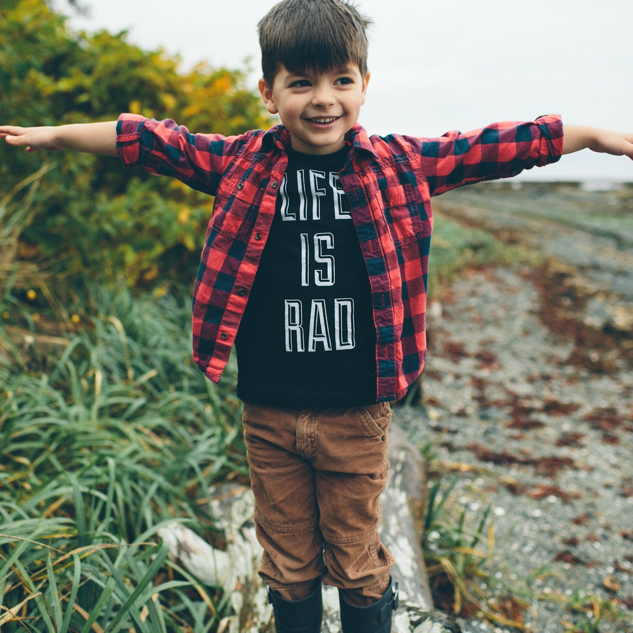 Kids Life is Rad Tee (BLACK) - Locomotive Clothing - 1