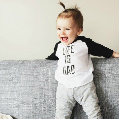 Babies Life is Rad Baseball Tee (WHITE + BLACK) - Locomotive Clothing - 3