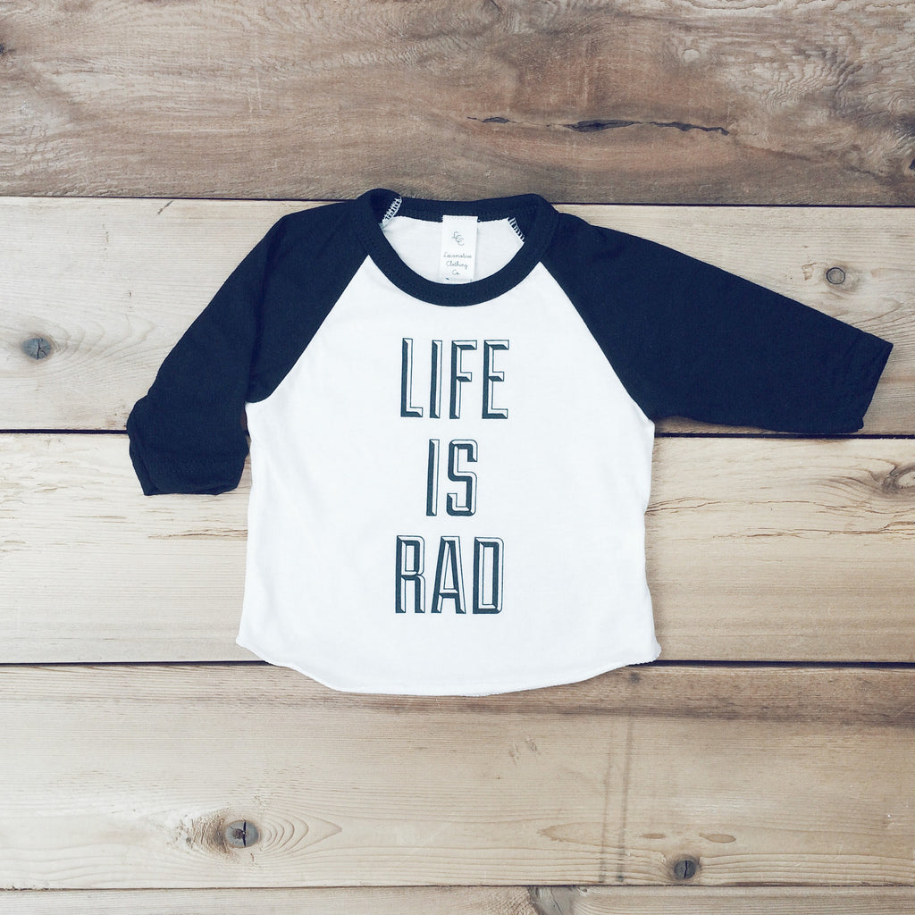 Kids Life is Rad Baseball Tee (WHITE + BLACK) - Locomotive Clothing - 2