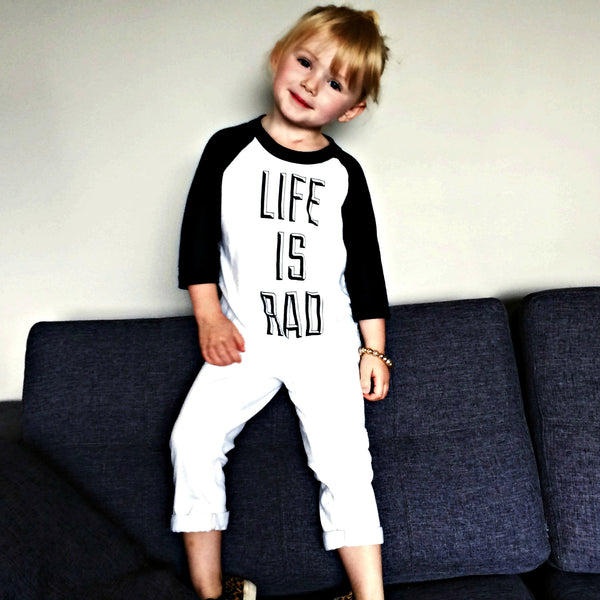 Kids Life is Rad Baseball Tee (WHITE + BLACK) - Locomotive Clothing - 1