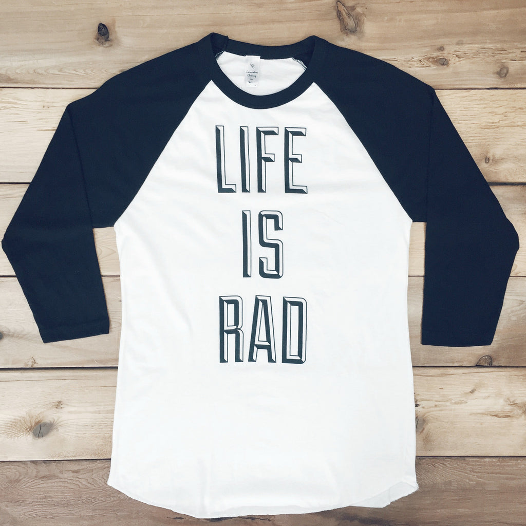 Unisex Life is Rad Baseball Tee (WHITE + BLACK) - Locomotive Clothing - 2