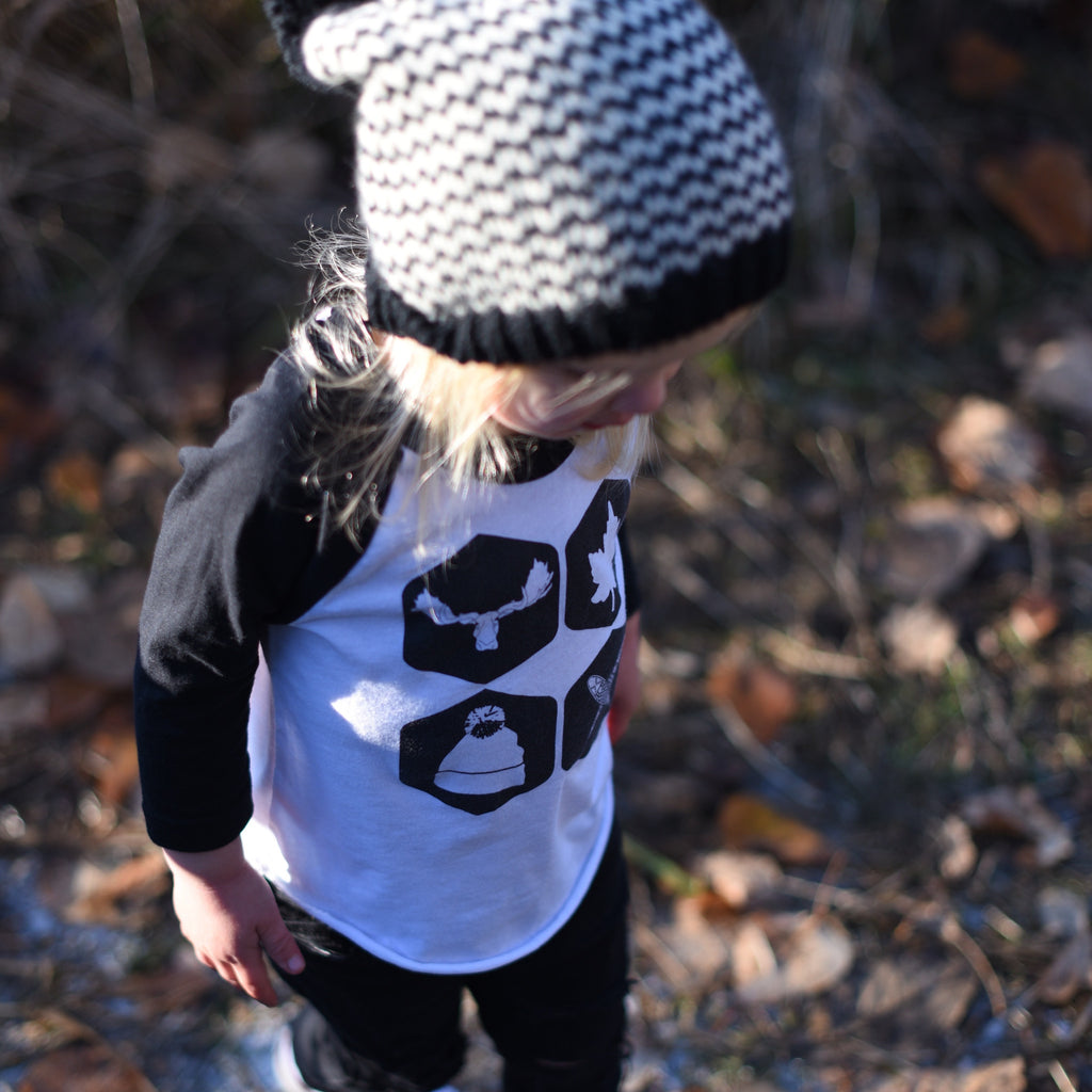 Kids Northern Icons Baseball Tee (WHITE + BLACK) - Locomotive Clothing - 2
