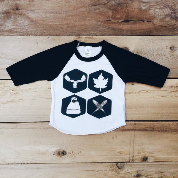Babies Northern Icons Baseball Tee (WHITE + BLACK) - Locomotive Clothing