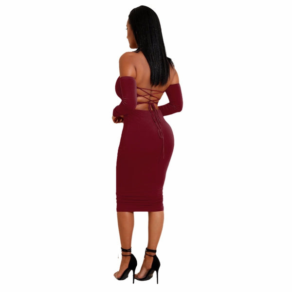 Sexy Women Two Pieces Set Off Shoulder Lace Up Back Long Sleeve Backless Crop Top Bodycon Pencil Skirt Set