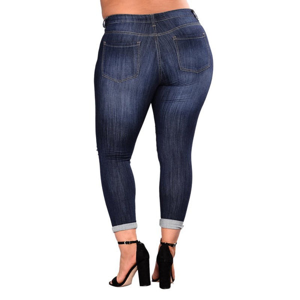 High Waist Elastic Holes Distressed Pencil Jeans