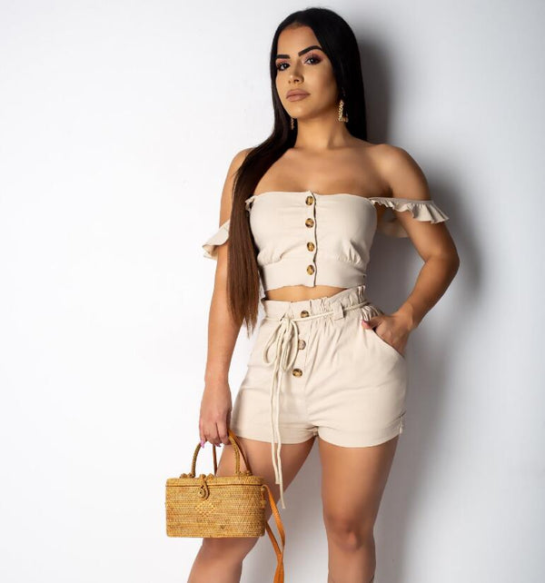 Off Shoulder Tube Top Khaki Elastic Jumpsuit